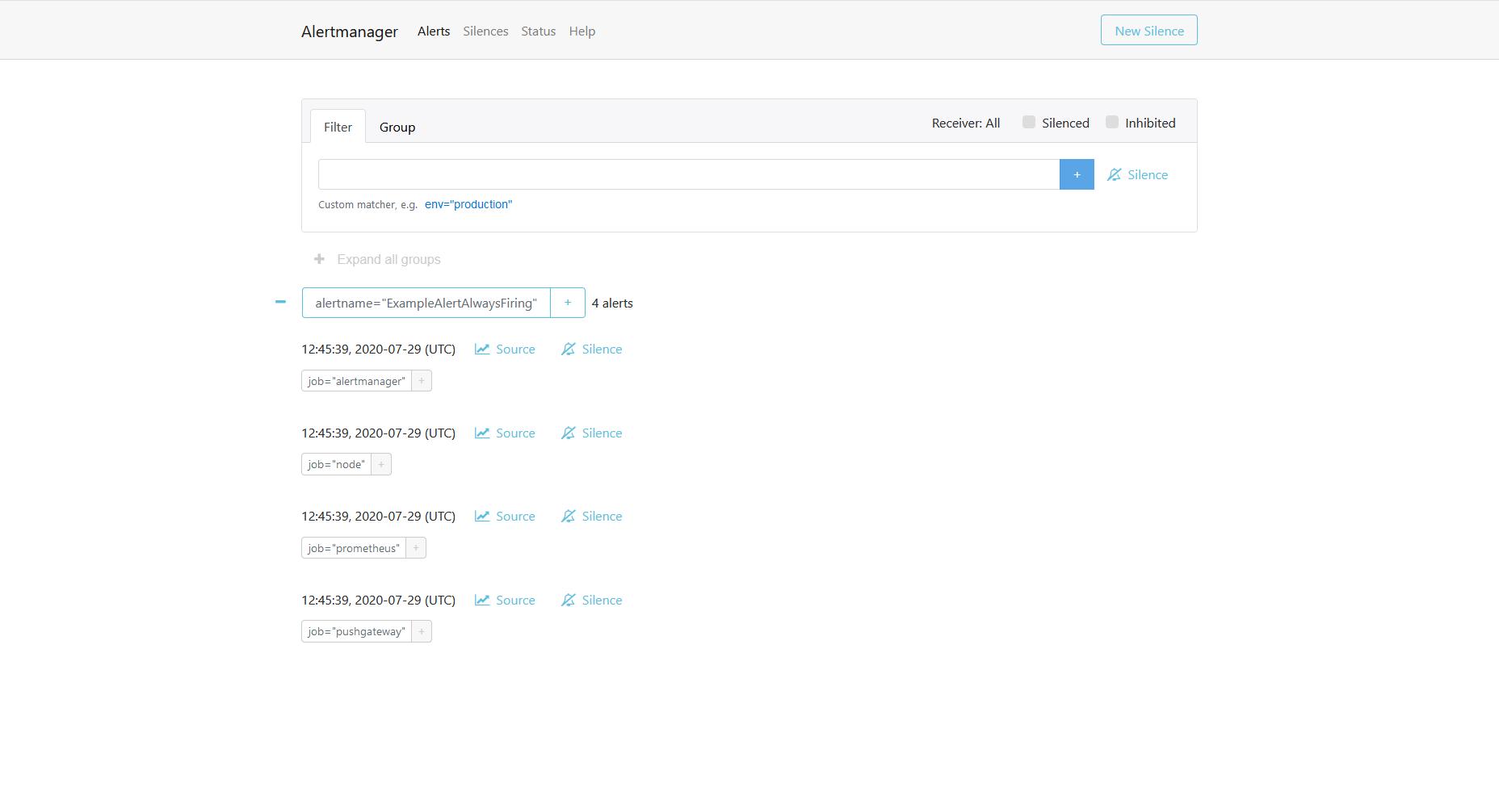 Prometheus Alertmanager Screenshot 2