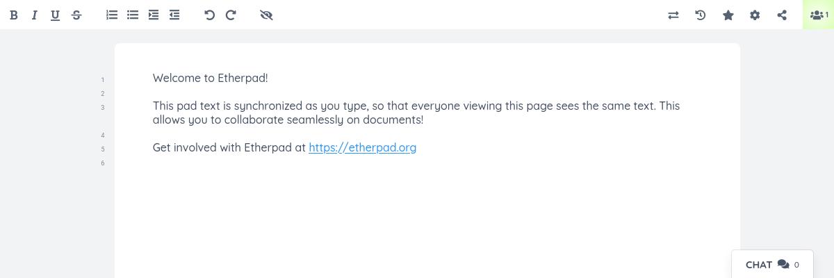 Etherpad Screenshot 1