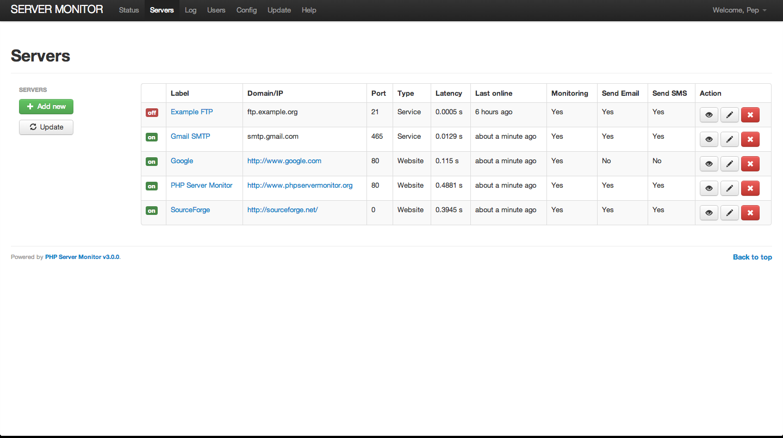PHP Server Monitor Screenshot 2