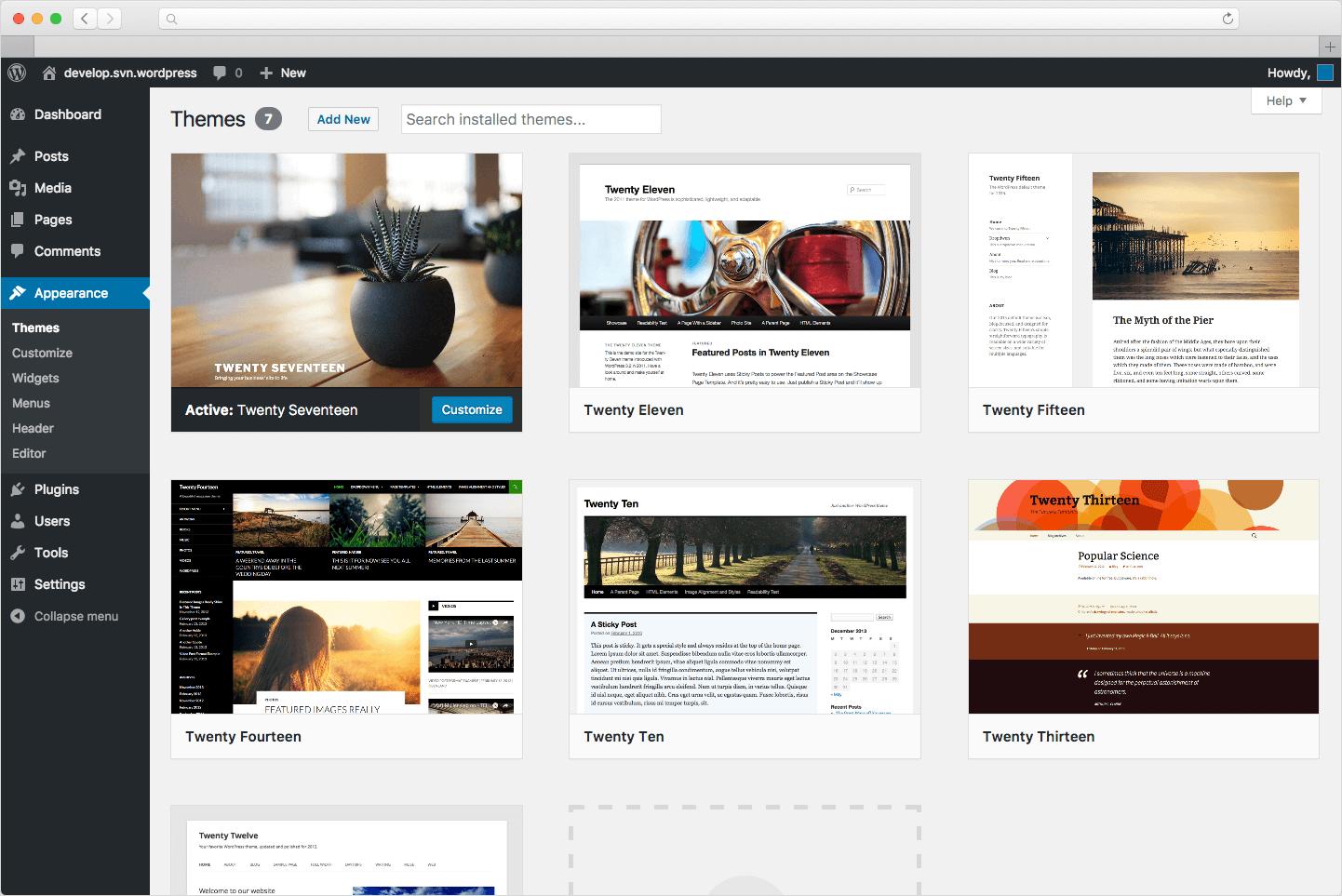 WordPress (Developer) Screenshot 1